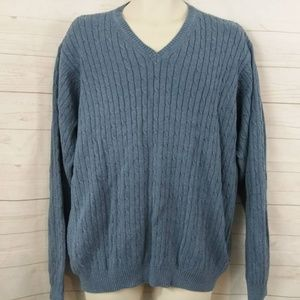 Izod Blue Pullover Sweater Cable Knit LG